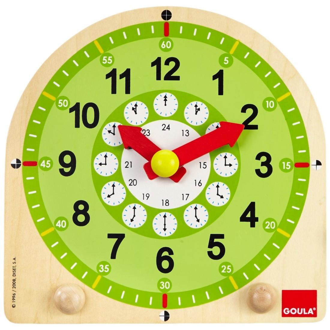 Amato orologio in legno per bambini per imparare a leggere l'ora GR25