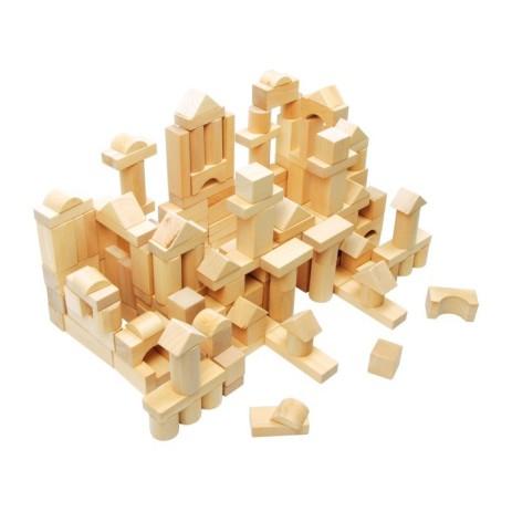 Sacco con cubetti in legno per le costruzioni