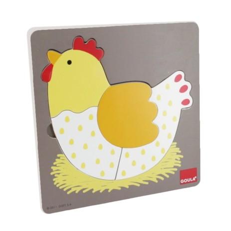 Goula 53027 Puzzle 3 livelli gallina