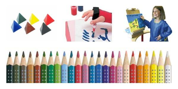 Pastelli triangolari, impugnatura pennello, grembiulino, pastelli ergonomici