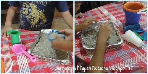 foto 2,collage colonia Aurora Onlus, sabbia kinetic, orso azzurro store, giochi educativi