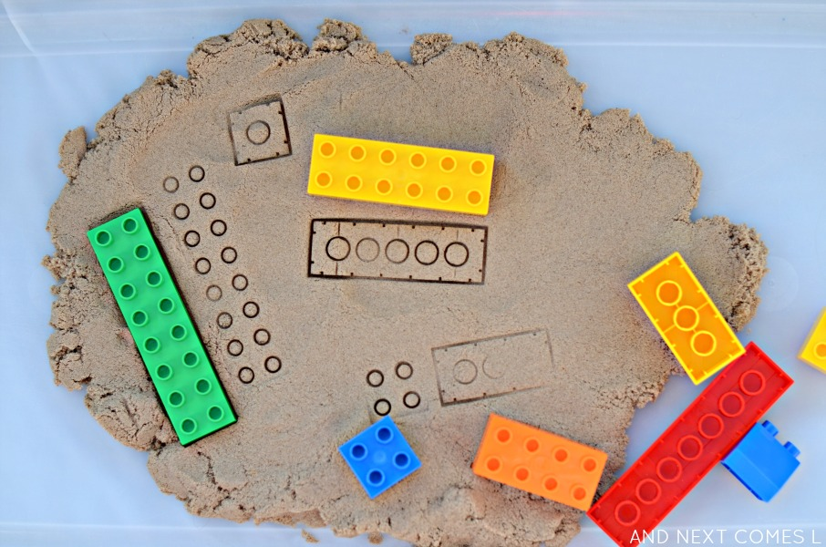 lego-stamping-with-kinetic-sand-fine-motor-sensory-play-1