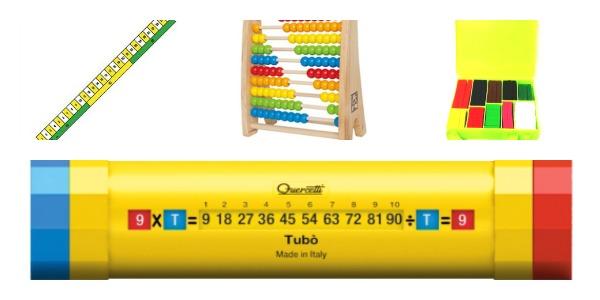 linea dei numeri, abaco, regoli, tubò pitagorico