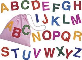 sacchetto alfabeto lettere maiuscole
